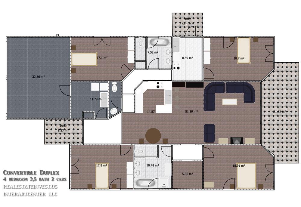 Duplex House Floor Plan Convertible Vacation Rent Home Design